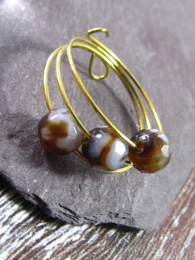 Brown Agate Gold Ring, Brown Ring, Memory Wire Ring