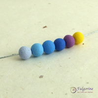 Blue palette handmade polymer clay spacer beads, 8mm round