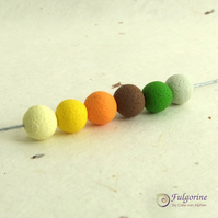 Yellow palette 8mm round textured polymer clay spacer beads