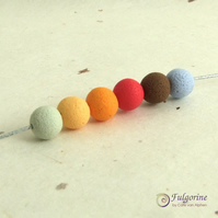 Orange palette 8mm spacer beads, handmade polymer clay