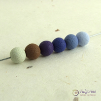Indigo palette 8mm polymer clay spacer beads