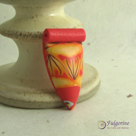 Red and orange polymer clay pendant, fire element