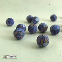 Indigo patchwork polymer clay beads, round 13mm diameter