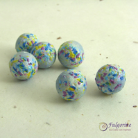 Blue polymer clay frit beads, round 15mm diameter