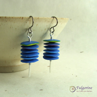 Rustic blue stack and sterling silver wire earrings with hypo-allergenic hooks