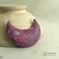 Red and blue geometric pattern polymer clay pendant
