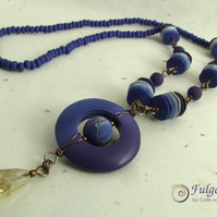 Long indigo statement necklace, handmade polymer clay beads