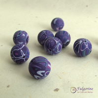 Violet patchwork beads, round 12mm diameter, handmade polymer clay