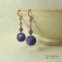 Purple patchwork and crystal bead earrings on hypo-allergenic niobium wire
