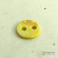 Yellow mokume gane polymer clay big holed button