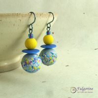 Blue and yellow polymer clay bead earrings on hypo-allergenic niobium