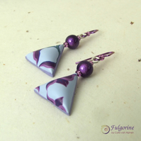 Purple & grey floral polymer clay bead earrings on hypo-allergenic niobium hooks