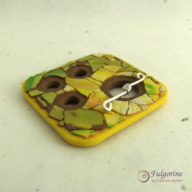 Yellow green and brown mosaic focal toggle, polymer clay