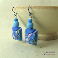 Blue kaleidoscope polymer clay and niobium earrings