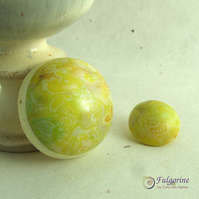 Mottled yellow polymer clay pendant and button set
