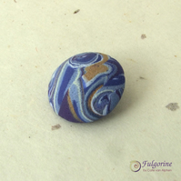 Indigo marble pattern polymer clay shank button