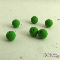 Green 8mm handmade polymer clay spacer beads