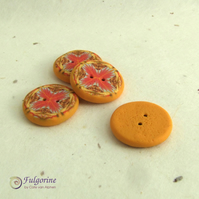 Orange kaleidoscope pattern polymer clay buttons