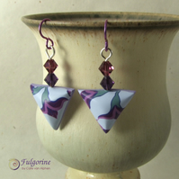 Lilac and purple polymer clay earrings with Swarovski crystals