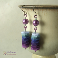 Purple and indigo stack bead earrings
