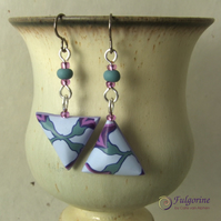 Mismatched lavender flower polymer clay earrings on titanium hooks