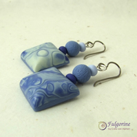 Indigo and blue grey polymer clay earrings on titanium hooks