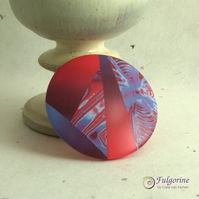 Large red and purple polymer clay feature clasp or pendant