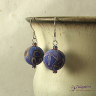 Indigo purple and brown earrings on sterling silver hooks with handmade beads
