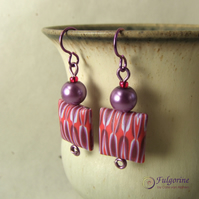 Red and purple geometric pattern polymer clay bead earrings