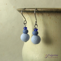 Ombre blue and grey earrings on surgical steel hooks