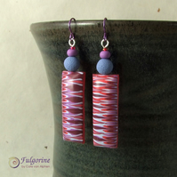 Chunky red and purple zigzag earrings on hypo-allergenic niobium hooks