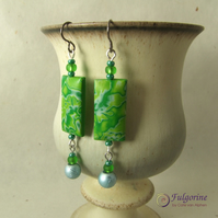 Green foliage polymer clay and bead dangle earrings on hypo-allergenic titanium