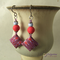 Red grey and purple handmade bead earrings