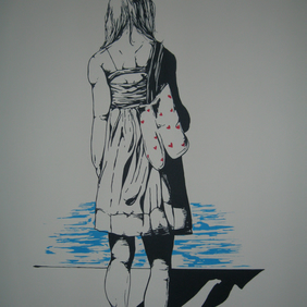 I am a mermaid, and I regret selling my tail (art, screen print, poster, girl)