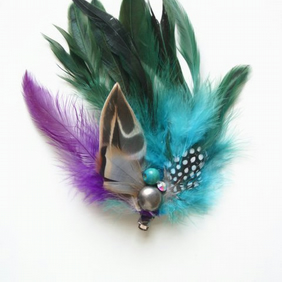 Blue Feather Fascinator (hair clip, brooch, head piece, bridesmaid, wedding)