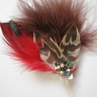 Red Feather Fascinator (hair clip, brooch, head piece, bridesmaid, wedding)