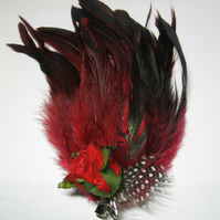 Rose Red Feather Fascinator   hair clip, brooch, head piece, bridesmaid, wedding