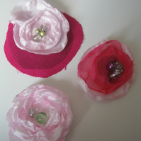 Floral Hair clips - set of 3  (fascinator, burlesque, christmas present, stag)