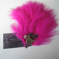 Hot Pink Feather Fascinator (hair clip, brooch, head piece bridesmaid, wedding)