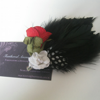 Black Feather Fascinator (hair clip, brooch, head piece, bridesmaid, wedding)