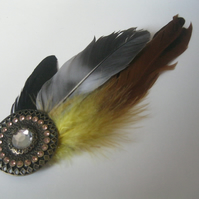 Yellow Feather Hat Pin (hair clip, brooch, head piece bridesmaid, wedding)