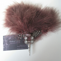 Brown Feather Fascinator (hair clip, brooch, head piece bridesmaid, wedding)