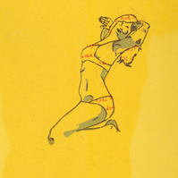 Yellow Blossom (screen print, original, text, art, poster, girl, anais, erotic?)