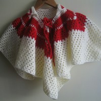 Hand Knitted Poncho Red & Cream - 12 - 18 months (kids children baby present)