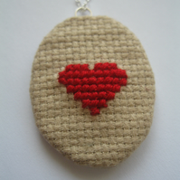 Cross Stitch Heart Necklace (Embroidery, love, geek chic, bridal, present)
