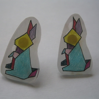 Hand Drawn Bunny Rabbit Earrings (easter present drawing geometric