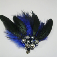 Blue Feather Fascinator (hair clip, brooch, head piece bridesmaid, wedding)