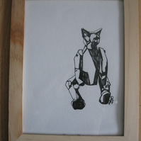 Geometric Cat (original pencil drawing pen & ink framed)