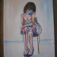 Girl in Room II (original painting, acrylic, canvas, drawing, nude)