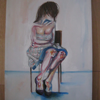 Girl in Room lll (original painting, acrylic, canvas, drawing, nude)